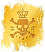 skull on gold background