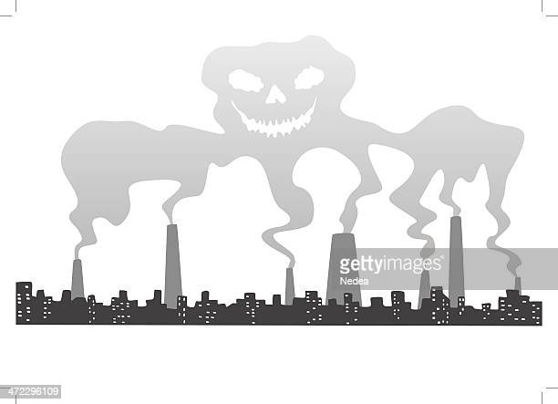 Skull out of smog