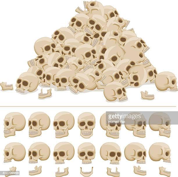 skull pile - bones stock illustrations, clip art, cartoons, & icons