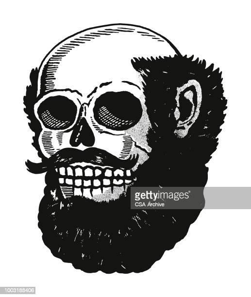 ilustrações de stock, clip art, desenhos animados e ícones de skull pirate with full beard - cavanhaque