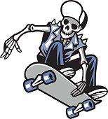 skull punk ride a skateboard