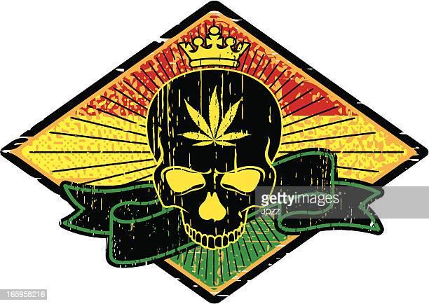 skull rasta emblem - rastafarian stock illustrations, clip art, cartoons, & icons