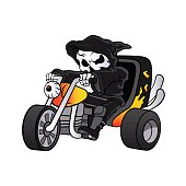 skull ride a big tricycle
