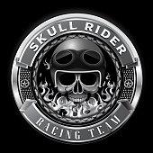 skull rider racing team badge club team vector illustration