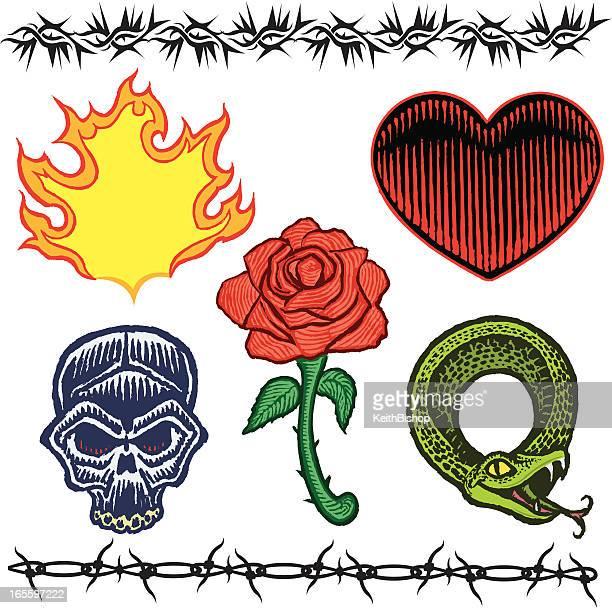 Cráneo y rosas, corazón, Snake, alambradas, llama tatuaje diseños