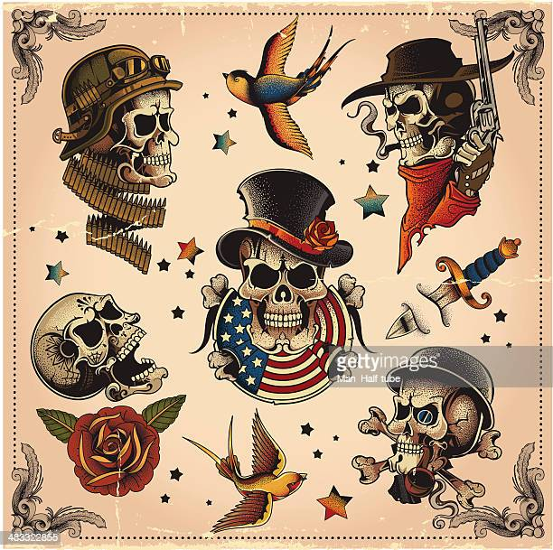 skull set - military stock illustrations, clip art, cartoons, & icons