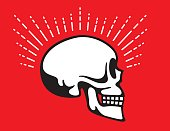 Skull Side View with Halo Glow Line graphic effect