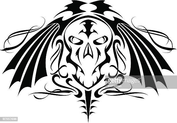skull tattoo 1 - music style stock illustrations, clip art, cartoons, & icons