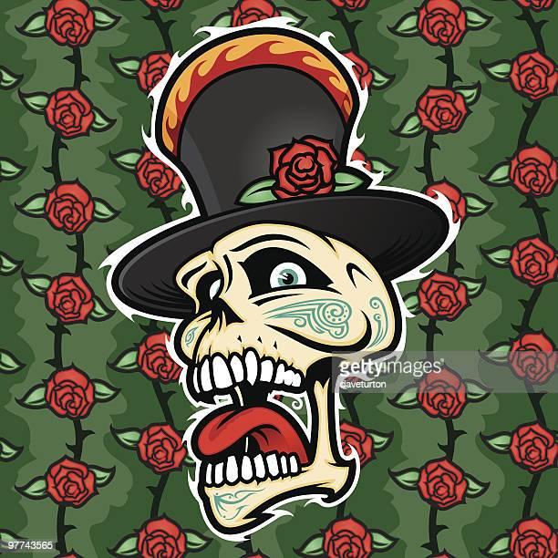 ilustrações, clipart, desenhos animados e ícones de crânio tatuagem e estampa de rosas - língua