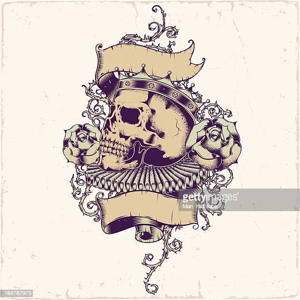 skull tattoo design - gothic style stock illustrations, clip art, cartoons, & icons