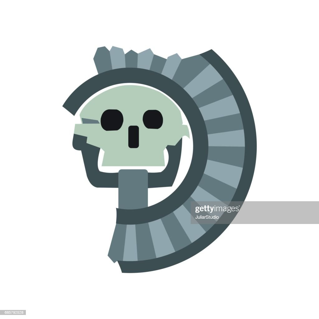 Skull The God Of Death Of Aztecs Icon Flat Style Vector Art Getty