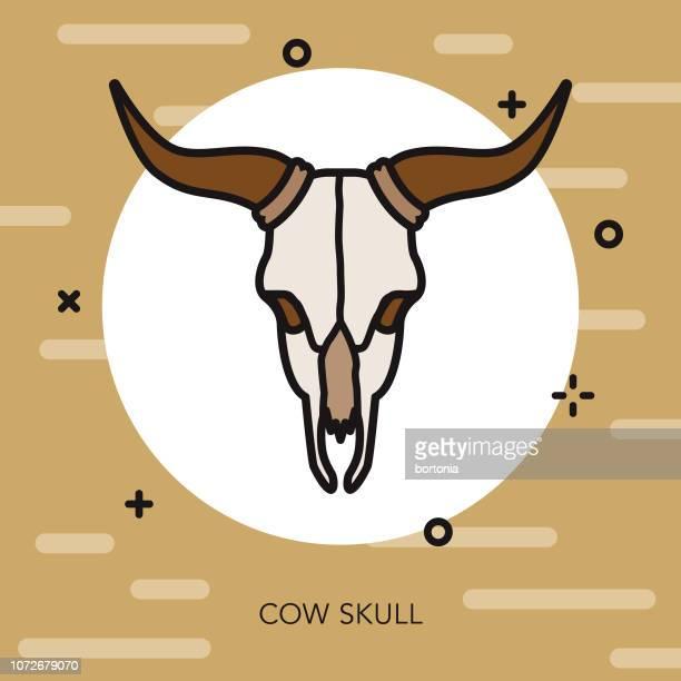 skull thin line western icon - horned stock illustrations