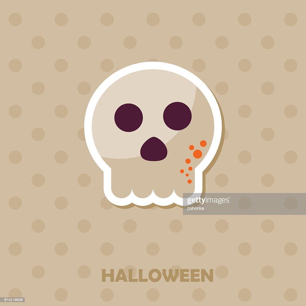 Skull vector icon. Halloween sticker