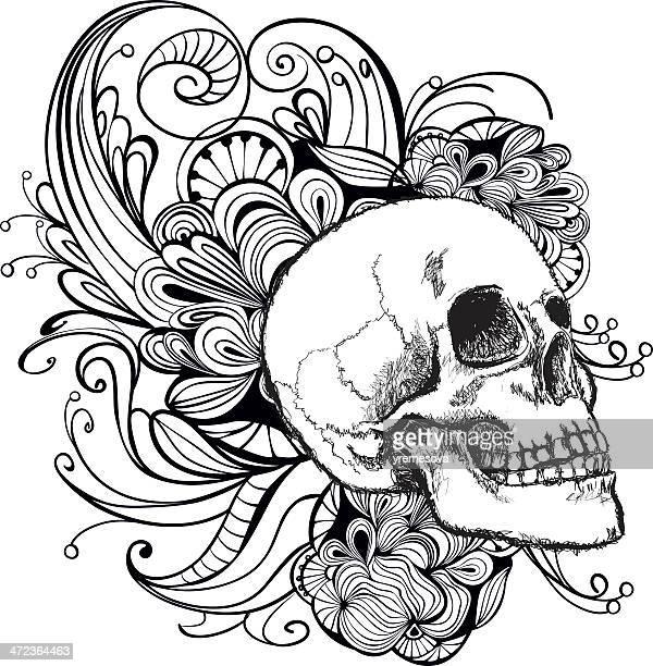 ilustraciones, imágenes clip art, dibujos animados e iconos de stock de cráneo - dia de muertos