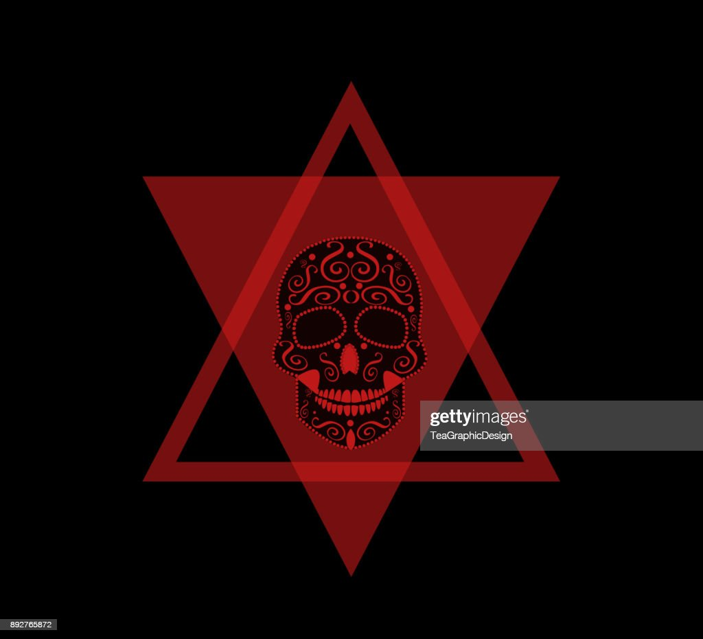 Skull vector red color in triangle