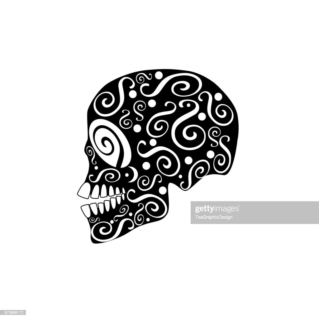 Skull vector with ornament details, for fashion, background, patterns