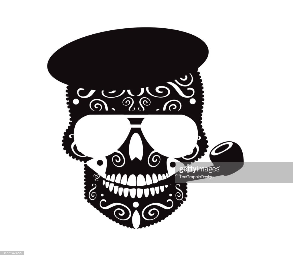 Skull vector with sunglasses and tobacco pipe black and white
