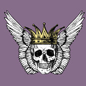 A skull with a crown and wings.