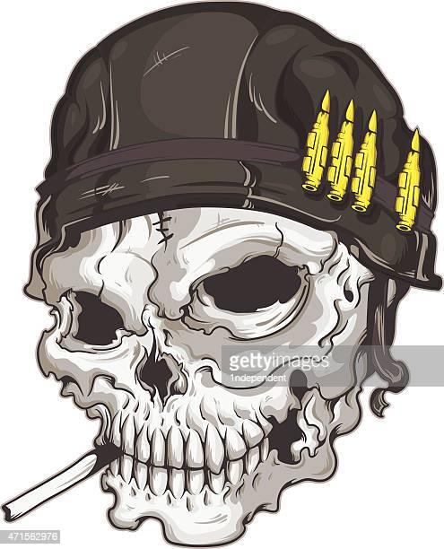 skull with ach helmet - army helmet stock illustrations, clip art, cartoons, & icons