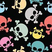 Skull with bones seamless pattern. Colored skull skeleton. Hallo