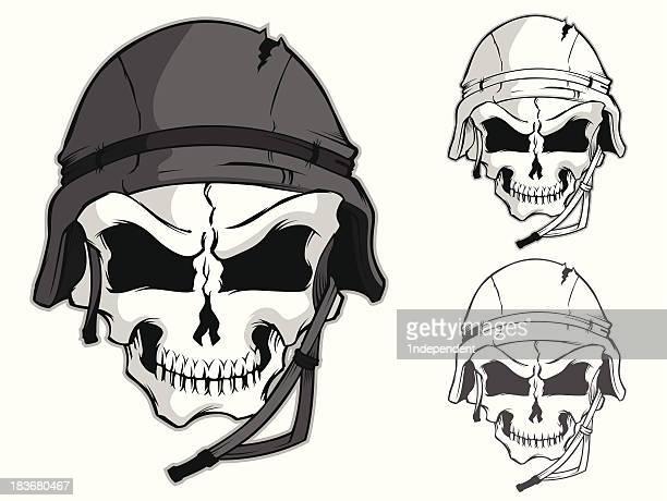 skull with combat helmet - army helmet stock illustrations, clip art, cartoons, & icons