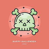 Skull with crossed bones icon, flat design line Halloween banner
