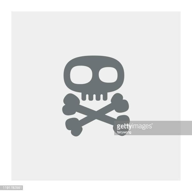 stockillustraties, clipart, cartoons en iconen met schedel met gekruiste botten pictogram - vervuiling