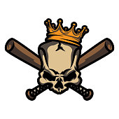 Skull with crown and crossed baseball bats.