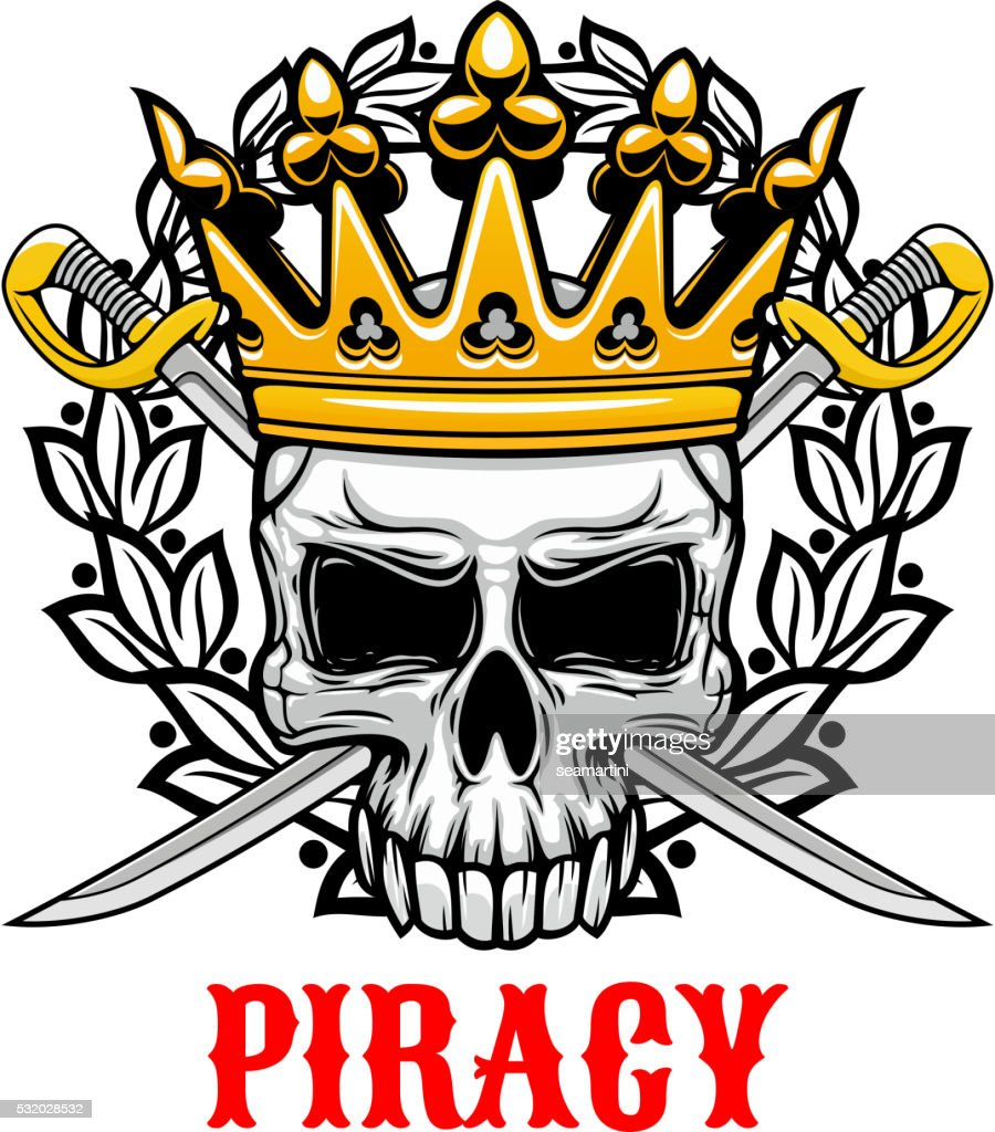 Skull with crown and sabres for piracy design