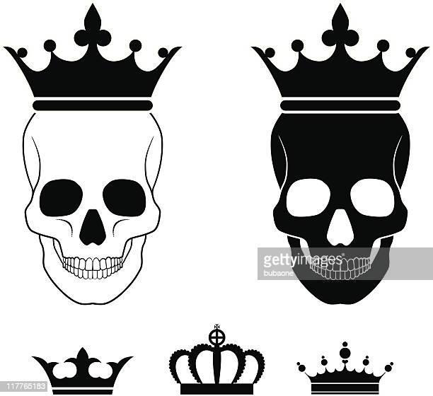 Cráneo con corona blanco y negro Sin royalties de conjunto de iconos de vector