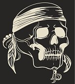 Skull with feathers.