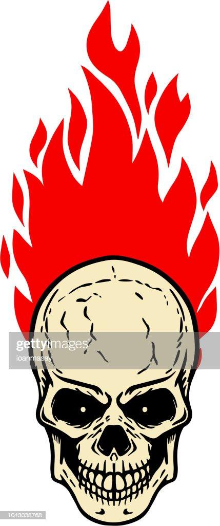 Skull with fire on white background. Design element for label, emblem, sign, badge.
