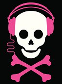 Skull with headphones and crossbones music player