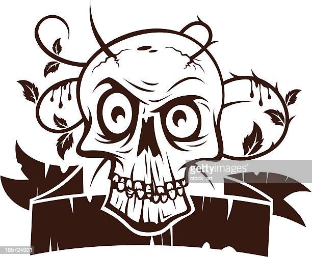 skull with ribbon - music style stock illustrations, clip art, cartoons, & icons