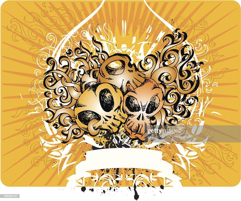 Skull with rock design : stock illustration