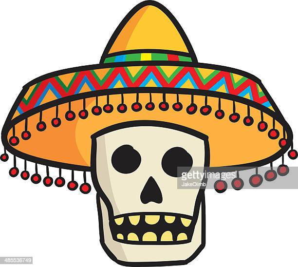 stockillustraties, clipart, cartoons en iconen met skull with sombrero - sombrero