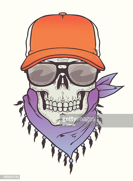 skull with truck cap and specs - horn rimmed glasses stock illustrations, clip art, cartoons, & icons