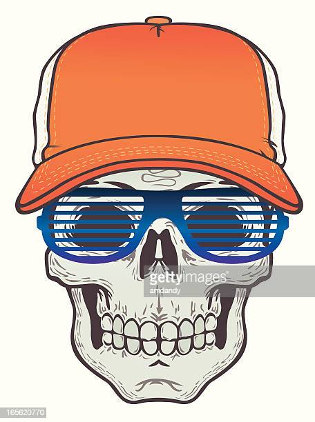 skull with truck cap and specs - trucker's hat stock illustrations