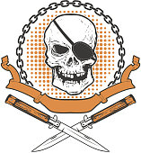 Skull with two crossed knives on grunge background. Design eleme