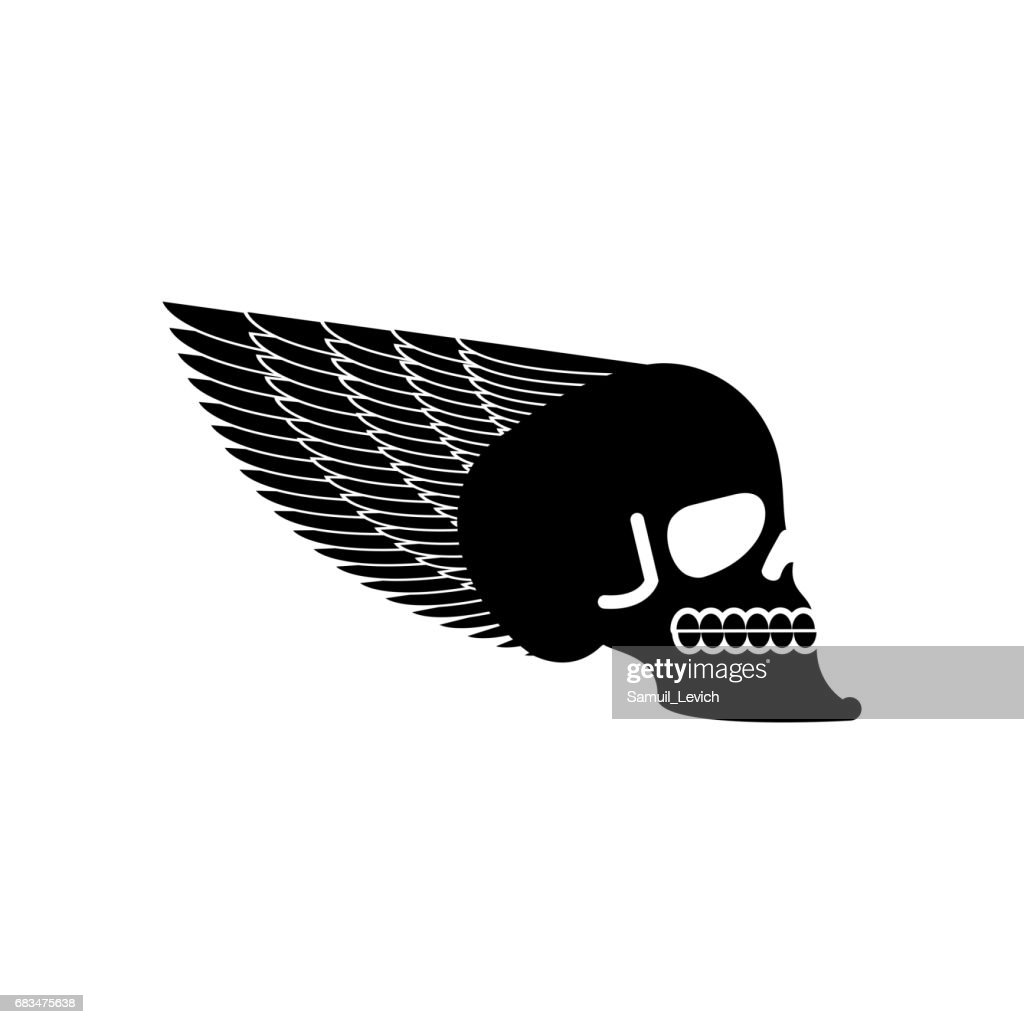 Skull With Wings Emblem Head Of Skeleton And Wing Vector Art Getty