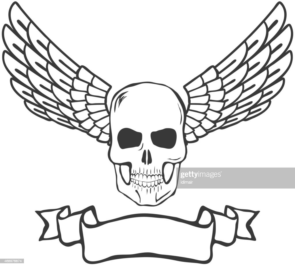 skull with wings isolated on white background vector