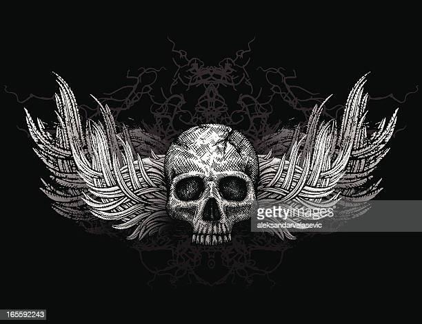 スカル、手羽 - 海賊旗点のイラスト素材/クリップアート素材/マンガ素材/アイコン素材