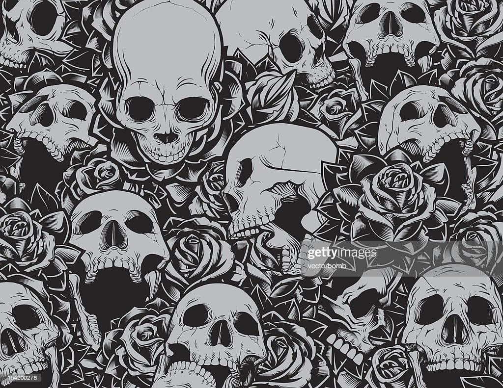 Skulls and Roses Background