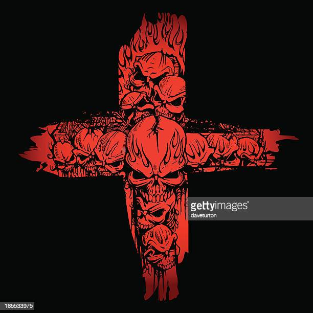 skulls cropped in a blood red cross - crucifix stock illustrations