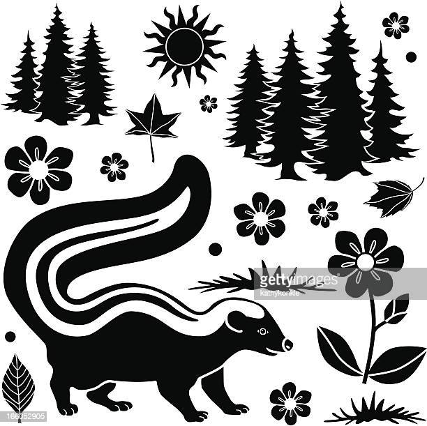 skunk in the autumn - skunk stock illustrations