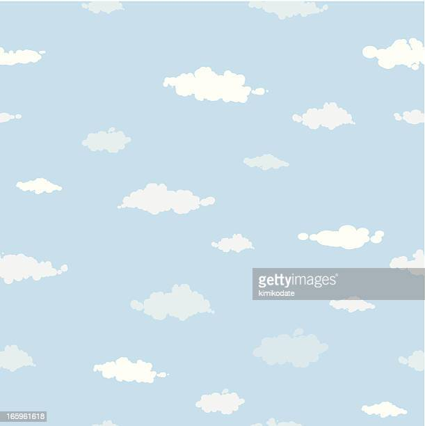 sky and clouds seamless pattern - cloudscape stock illustrations, clip art, cartoons, & icons