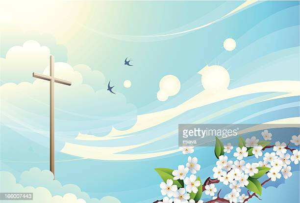 sky and cross - jesus christ stock illustrations, clip art, cartoons, & icons
