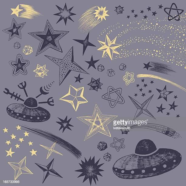 sky at night - star shape stock illustrations, clip art, cartoons, & icons