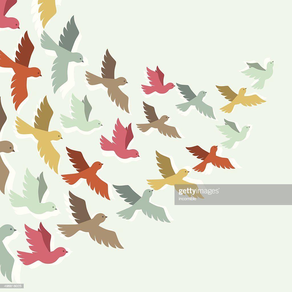 Sky background with stylized color flying birds.