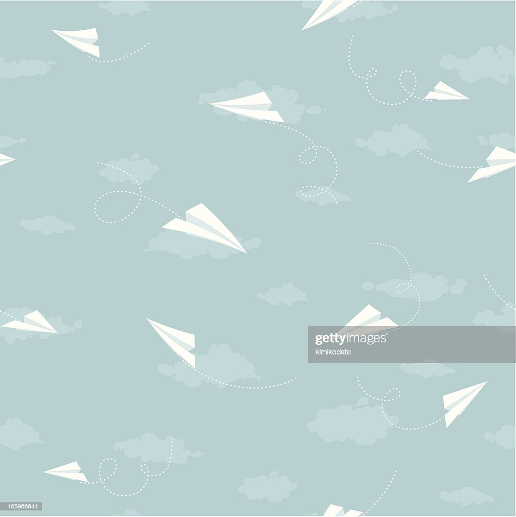 Sky, cloud and paper planes seamless pattern : stock illustration